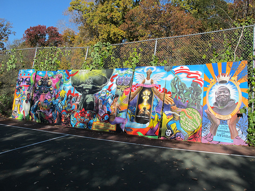 New updated mural by aniekan udofia goes up by walter for Basketball court mural