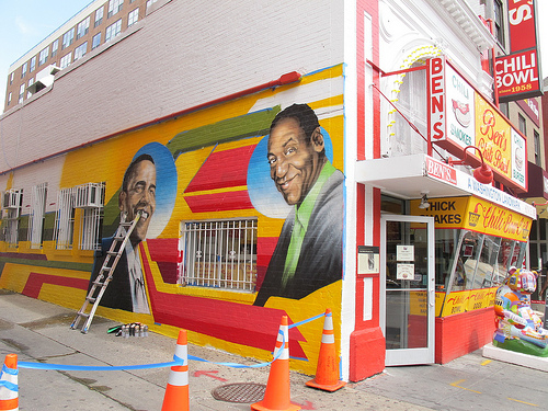 New murals going up on the wall outside of ben 39 s chili for Furniture u street dc