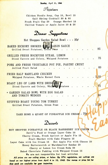 Hot Shoppes menu Easter 1946 01