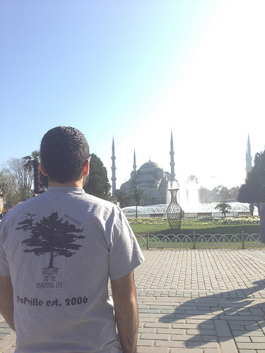In front of the Blue Mosque aka Sultan Ahmet Mosque
