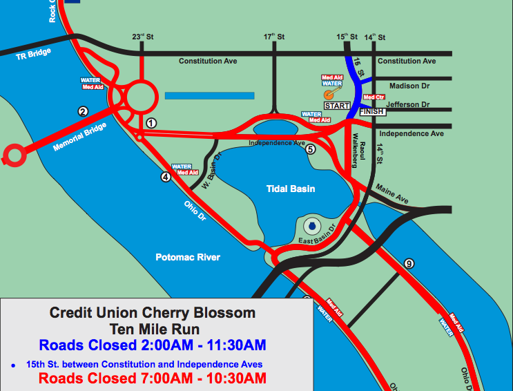 road closures for cherry blossom 10 miler sunday popville