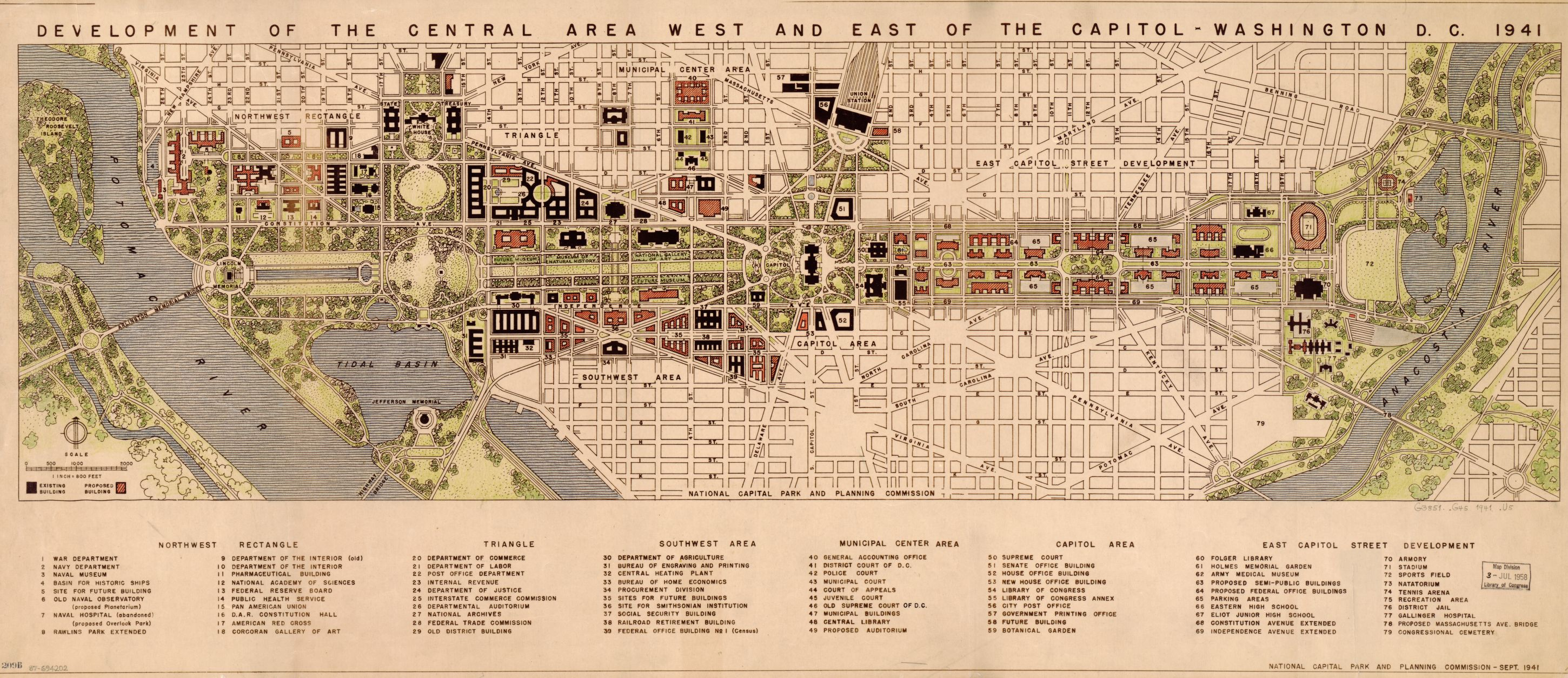 Map Of The Week Vol 10 Development Of The Area West And East Of The Capitol 1941 Popville