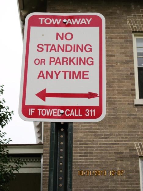 kilbourne no parking sign.Oct 2013