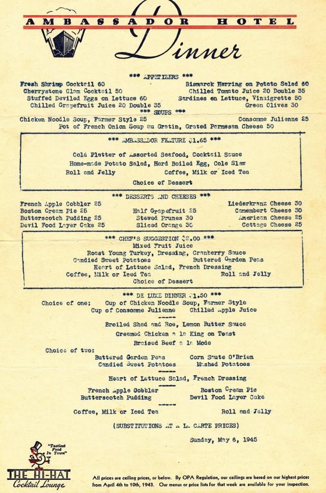 Ambassador Hotel Menu May 6 1945