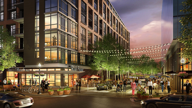 Rendering For Mixed Use Retail And Multifamily Apartments
