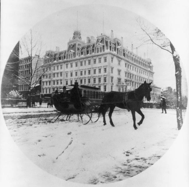 Horse-drawn sleigh before Ebbitt House 1889 3a46633u