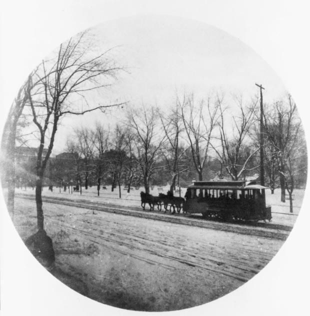 Horse-drawn trolley in the snow 1889 3a46635u