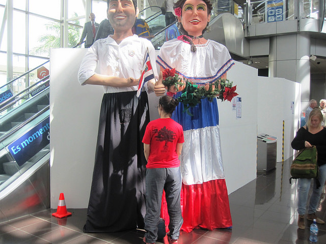 Juan Santamaria International Airport in San Jose, Costa Rica, December 2014. I believe these figures are part of traditional Christmas celebration