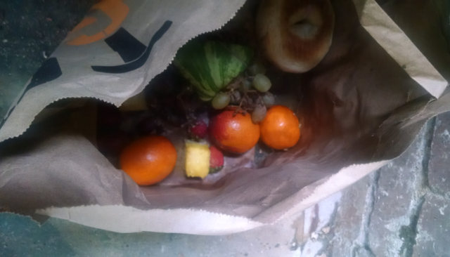 bag of rotting fruit