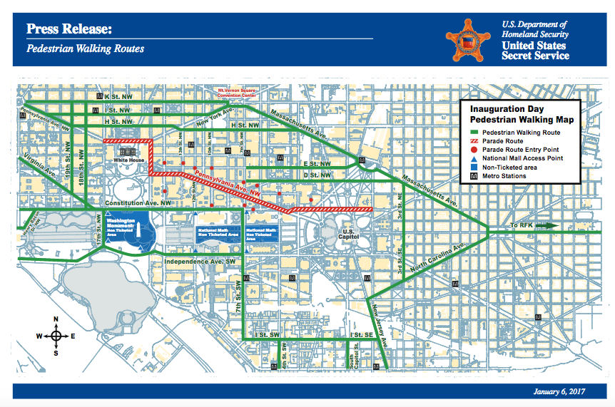 Here are the Road Closures for the Inauguration from Thursday