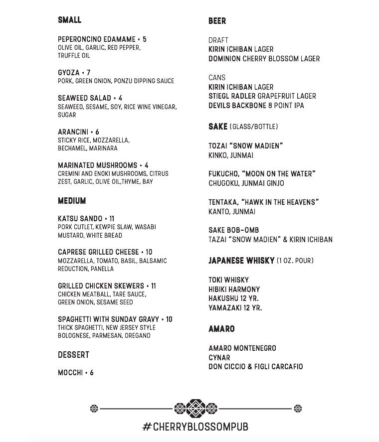 Cherry Blossom P.U.B. menu page 2